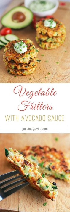 Crispy Vegetable Fritters with avocado yogurt dipping sauce (Vegan Dip Dill) Vegetable Recipes, Vegetarian Recipes, Healthy Recipes, Curry Recipes, Garbanzo Bean Recipes, Easy Recipes, Baby Food Recipes, Cooking Recipes, Dinner Recipes