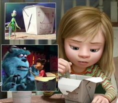 In Inside Out, the chinese food carton is the same as the ones in A Bug's Life & Monsters Inc. (Hidden Disney) #InsideOut #ABugsLife #MonstersInc