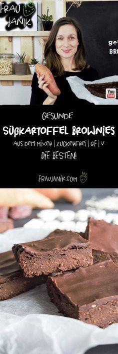 Gesunde Süßkartoffel Brownies aus dem Mixer | vegan | zuckerfrei | glutenfrei | DIE BESTEN! - ohne Butter, Eier, Haushaltszucker & Weißmehl... Diese gesunden Süßkartoffel Brownies sind der absolute Burner! Die sind sooo schokoladig, innen weich und fudgy. #brownies #schokokuchen #gesundebrwonies #süßkartoffelbrownies #gesund #gesundbacken #ohnezucker #backenohnezucker #glutenfreiebrownies #backenkinder #geburtstagskuchen #geburtstag #party #partyfood