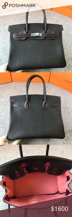 Hermes birkin 30 Brand new Hermes birkin 30. Our product is 100% real leather. All Handmade by French worker guarantee. No made in China. Stainless silver and Gold plated. Its high price because the material just like authentic 100% . 20% discount if you buy on Mercari. Sold as in the picture. Comes with original box, key, lock, box... Hermes Bags