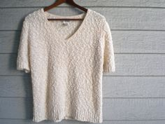 #vintage #80s #summer #sweater in #peach / #creamsicle with short sleeves.  | ReRunRoom |  $19.00