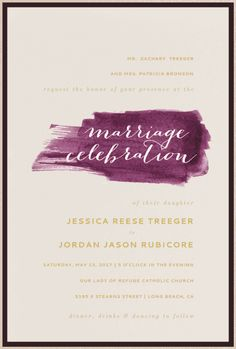 Painted Love Wedding Invitation // Envelopments // purple, gold, brush strokes
