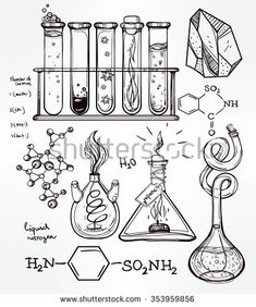 Hand drawn science beautiful vintage lab icons sketch set . Vector illustration. Back to School. Doodle lab…