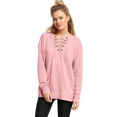 PINK Lace-Up Campus Crew (2,580 DOP) ❤ liked on Polyvore featuring tops, pink, laced tops, lace front top, loose fit tops, loose tops and pink lace up top