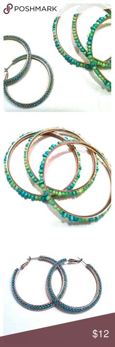 Earring and bangle set on sale!!! Custom jewelry! Torquoise and gold earring hoops and gold with turquoise and green bangles. Used but in good condition. Make an offer! Jewelry Earrings