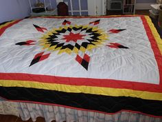 Amazing Four Direction star quilt Lone Star Quilt Pattern, Star Quilt Patterns, Star Quilts, Sewing Patterns, Sewing Tips, Sewing Hacks, Seminole Patchwork, Indian Quilt, Star Blanket