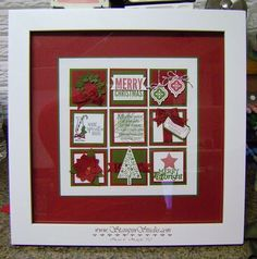Tuesday night I held my Customer Christmas Party at my Stampin' Studio. We enjoyed hot chocolate and home made Christmas Cookies and everyone made this Christmas Sampler. I really enjoy creating the Christmas Shadow Boxes, Christmas Collage, Christmas Paper Crafts, Christmas Frames, Christmas Scrapbook, Stampin Up Christmas, Elegant Christmas, Holiday Cards, Christmas Cards