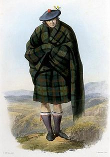 A clan badge, sometimes called a plant badge, is a badge or emblem, usually a sprig of a specific plant, that is used to identify a member of a particular Scottish clan.[1] They are usually worn in a bonnet[2] behind the Scottish crest badge,[3] or attached at the shoulder of a lady's tartan sash. According to popular lore clan badges were used by Scottish clans as a means of identification in battle.