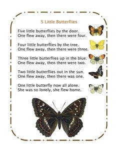 5 Little Butterflies Song: Create Butterfly manipulatives to use while singing!: