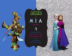 Frozen Teenage Mutant Ninja Turtles Boy Girl Birthday Invitation by MiabbyDesigns on Etsy