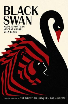 One in a series of vintage style Black Swan movie posters. British design studio laboca.co.uk did these adverts for the Darren Aronofsky film. Style echos Polish and Czech posters of the 60s and ballet advertisements of the early 20th century.