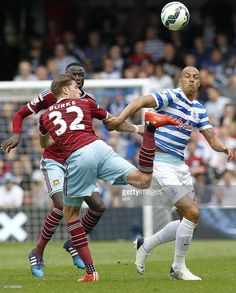 West Ham United's English defender Reece Burke (L) vies with Queens Park Rangers English striker Bobby Zamora during the English Premier League football match between Queens Park Rangers and West Ham at Loftus Road Stadium in London on April 25, 2015.