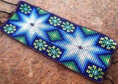 Mexican Huichol Loom Beaded peyote and star bracelet by Aramara on Etsy