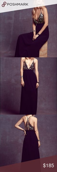 Free People x Lovers + Friends Good as Gold Maxi NWT. Size small. Black with black and gold bodice. Beautiful.    • no trades • offers welcome • bundles! •                    • email on my about • • all lulu purchases ship in a small lulu bag • Free People Dresses Maxi