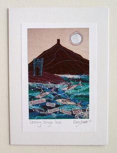 Dingle Watchtower Textile Art Card Print of Original. by SwinkyDoo
