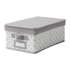 "To organize other sizes in the closet. IKEA - SVIRA, Box with lid, gray/white flowers, 9 ¼ "","