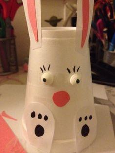 Olha que fácil que é fazer um coelhinho no copinho de plástico! A dica é do blog The Queen of Swag. Você vai precisar de um copo de papel branco de qualquer tamanho e cartolina rosa.