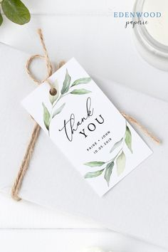 Printable Rustic Wedding Favor Tag Thank You Tag Gift Tag with Watercolor Greenery Looking for quick and easy wedding favor ideas? Pair this printable rustic greenery thank you tag with your wedding favo. Rustic Wedding Favors, Wedding Favor Tags, Wedding Gifts, Boho Wedding, Thank You Tags, Thank You Gifts, Wedding Stationery, Wedding Invitations, Motif Floral