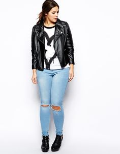 ASOS CURVE Exclusive Leather Biker Jacket