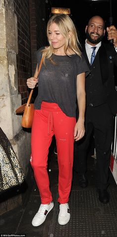 Sporty vibe: The Hollywood star opted for a casual look, teaming her bottoms with a simple...