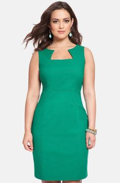 I love the color and like the shape. Not too wild about the neckline, but one in my wardrobe could be interesting. ELOQUII Seamed Sleeveless Sheath Dress (Plus Size) available at Tulle Dress, Dress Skirt, Plus Size Dresses, Dresses For Work, African Dress, Green Dress, Dress Patterns, African Fashion, Plus Size Fashion