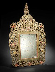 An Ottoman gilt and polychrome decorated wood Mirror Edirne, Turkey, 18th Century