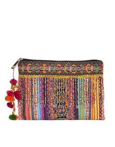 Enlarge ASOS Clutch Bag With Weave And Embellished Fringing