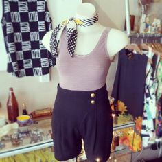 #vintage #pinkandgrey #striped #leotard $25 #hatched #scarf $15 #veryhighwaisted #vintage #woollen #shorts $49 #black #stripe #french #frenchRiviera #summertime #sunnysideup #cute #romparound