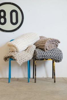 Chunky Knit Wool Throws by New Zealand designer Milo and Mitzy