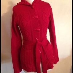 Red long sleeves jacket It is knitted, has triangle buttens and pockets BB Jeans Jackets & Coats