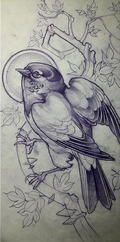 Набросок для тату с птицей