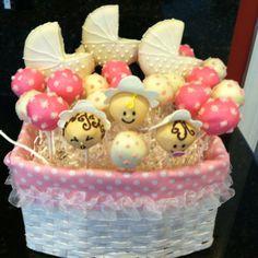 Baby shower cakepops basket