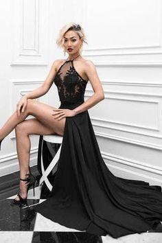 Charming Sexy Prom Dress,Black High Slit Evening Dress,Long Evening Dresses,PM691 #eveningdresses