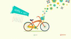 MAYbe A Ride? bike bicycle strand cruiser retro  flowers material design colors- wallpaper