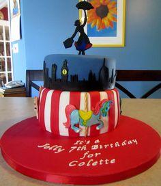 Mary Poppins cake - top cake is vanilla funfetti, and bottom cake is chocolate fudge.
