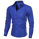 Men's Casual/Daily Street chic Shirt,Geometric Shirt Collar Long Sleeves Polyester 2017 - $16.99