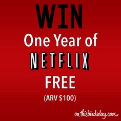 GIVEAWAY: Win Netflix FREE for one year - http://www.thisbirdsday.com/win-netflix-free/ #CanWin, #StreamTeam