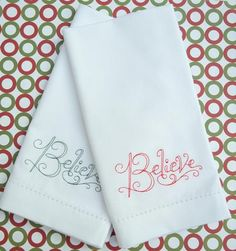 believe christmas napkins, believe napkins, believe gift