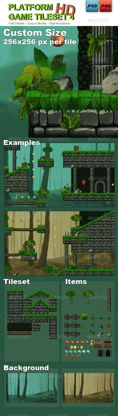 Platform Game Tileset 4: Abandoned Castle (Photoshop PSD, Transparent PNG, JPG Image, CS, 256x256, adventure, android, animation, background, castle, chest, coin, dark, door, dungeon, fantasy, flash, game, gray, green, ground, high definition, html5, ios, level, mobile, platform, platformer, sky, sprite, Spritesheet, tile, tileset, videogame)