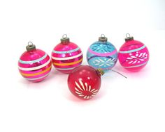 """Five Christmas Ornament Balls, Vintage c1940-50, Unsilvered and Solid Striped, Pink, Red Blue, 3"""" Balls, Made in USA"""