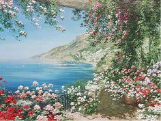 Liliana Frasca  View of Positano - oil on canvas
