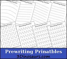 Free Prewriting Practice Printables | 3 Dinosaurs
