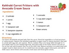 Kohlrabi Carrot Fritters with Avocado Cream Sauce - YMCA Farmers Market