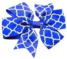Mirage Pet Products Hair Bow Quatrefoil French, Barrette Blue