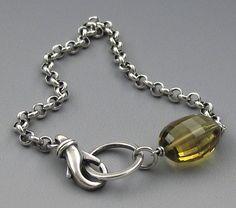 Lucky Girl Silver Whiskey Quartz Bracelet by teefeebijoux on Etsy, $55.00