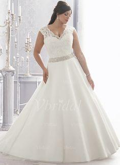 Brautkleider - $210.83 - Duchesse-Linie V-Ausschnitt Kapelle-schleppe Organza Satin Brautkleid mit Spitze Perlenstickerei (0025058041)