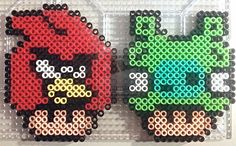 Angry Bird and Pig Shrooms perler beads by PerlerPixie on deviantART