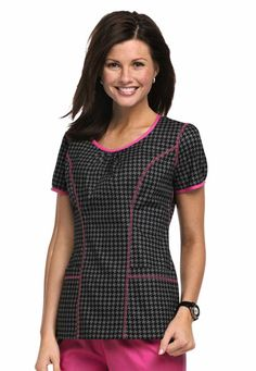 Cherokee Houndstooth print in grey and neon pink Healthcare Uniforms, Medical Uniforms, Work Uniforms, Scrubs Outfit, Scrubs Uniform, Medical Scrubs, Nursing Scrubs, Cute Scrubs, Cherokee Scrubs