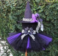 Halloween Tutu Witch Costume - Willow, the Wild Witch - Sewn Tutu & Hat - child's size 8 - Black Purple Zebra - Tutu and Hat Set Tutu Costumes, Halloween Costumes, Costumes Kids, Couple Costumes, Halloween 2015, Costume Ideas, Witch Tutu, Buy Hats, Witches