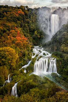 Marmore Falls--The Cascata delle Marmore (Marmore's Falls) is a man-made waterfall created by the ancient Romans. Its total height is 165 m (541 feet), making it one of the tallest in Italy and the tallest man-made waterfall in the world.